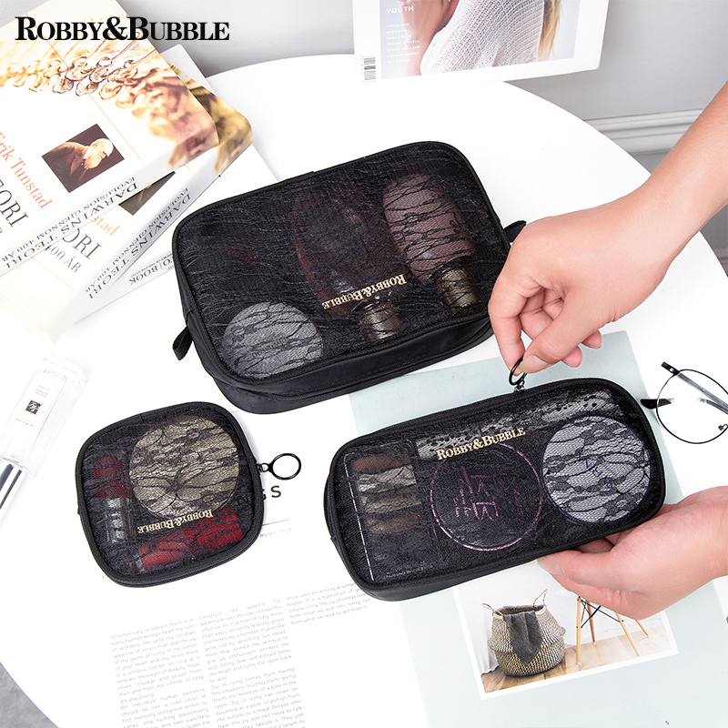 2019 new large capacity Mesh Cosmetic Bag Korea portable simple multi-functional travel net red portable storage bag
