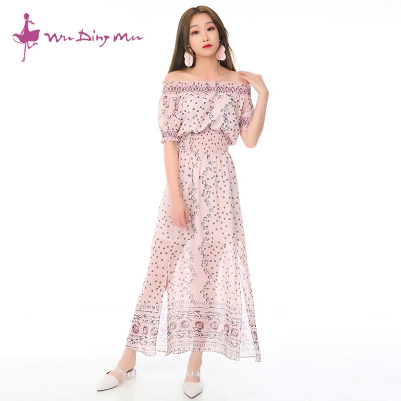 五丁目衣舍夏季一字领露肩收腰显瘦开叉长连衣裙2020女装97036968