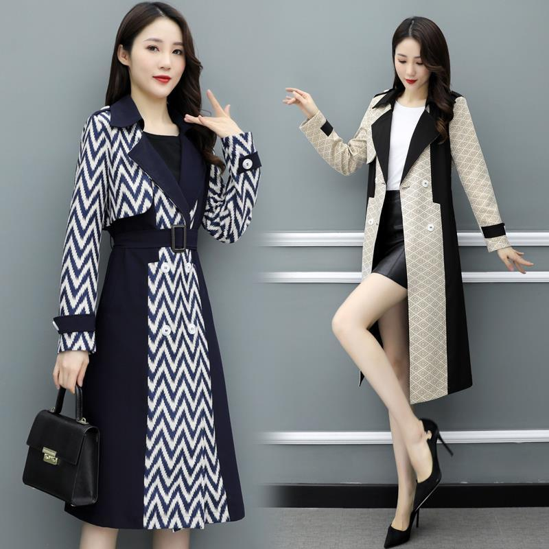 British windbreaker womens middle and long spring 2020 new Korean fashion style over the knee coat popular coat spring and Autumn