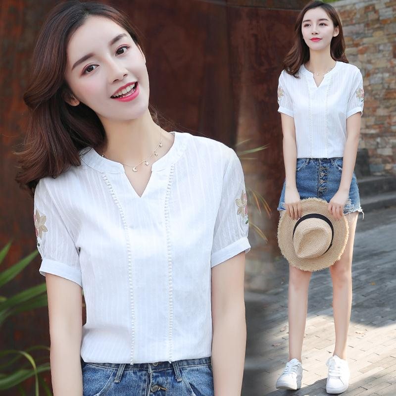 [high cotton] small fresh V-neck Shirt Short Sleeve 2021 spring dress new Han style loose embroidered top