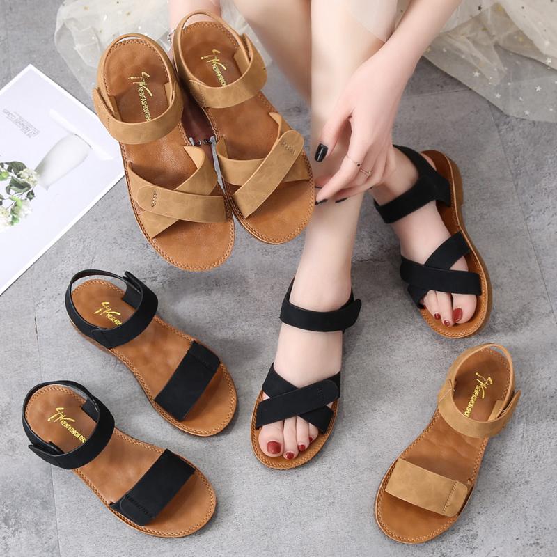 牛筋软底一字凉鞋2021夏季新款鞋子百搭魔术贴韩版沙滩鞋平底女鞋