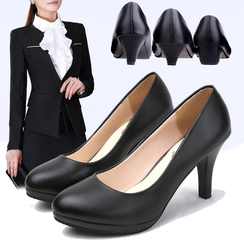 正装礼仪职业黑色2020秋冬季高跟鞋