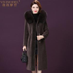 19冬新款中年狐狸毛领羊剪绒大衣女中长款连帽一体水貂毛皮草外套