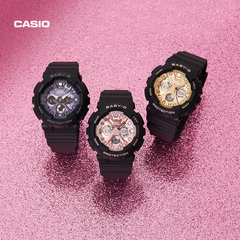Casio flagship store ba-130 trend student ins wind female electronic watch official bby-g