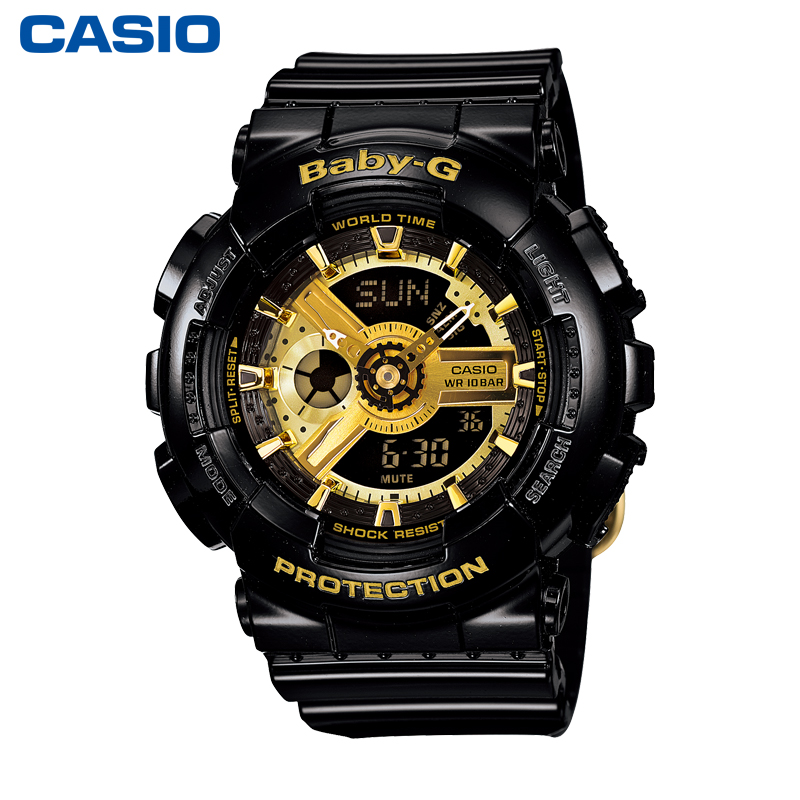 casio旗舰店黑金BA-110-1A运动防水女士手表卡西欧官网BABY-G正品