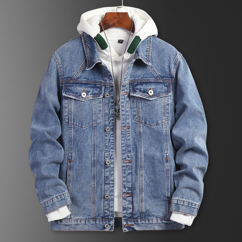 Fat plus large denim coat fashion brand European and American jeans loose handsome fat mans spring and autumn work jacket