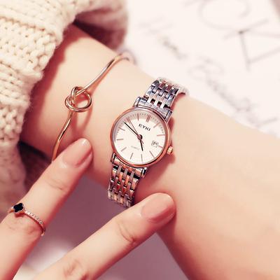 艾奇简约时尚日历防水手表女学生腕表钢带ins风女士手表石英手表