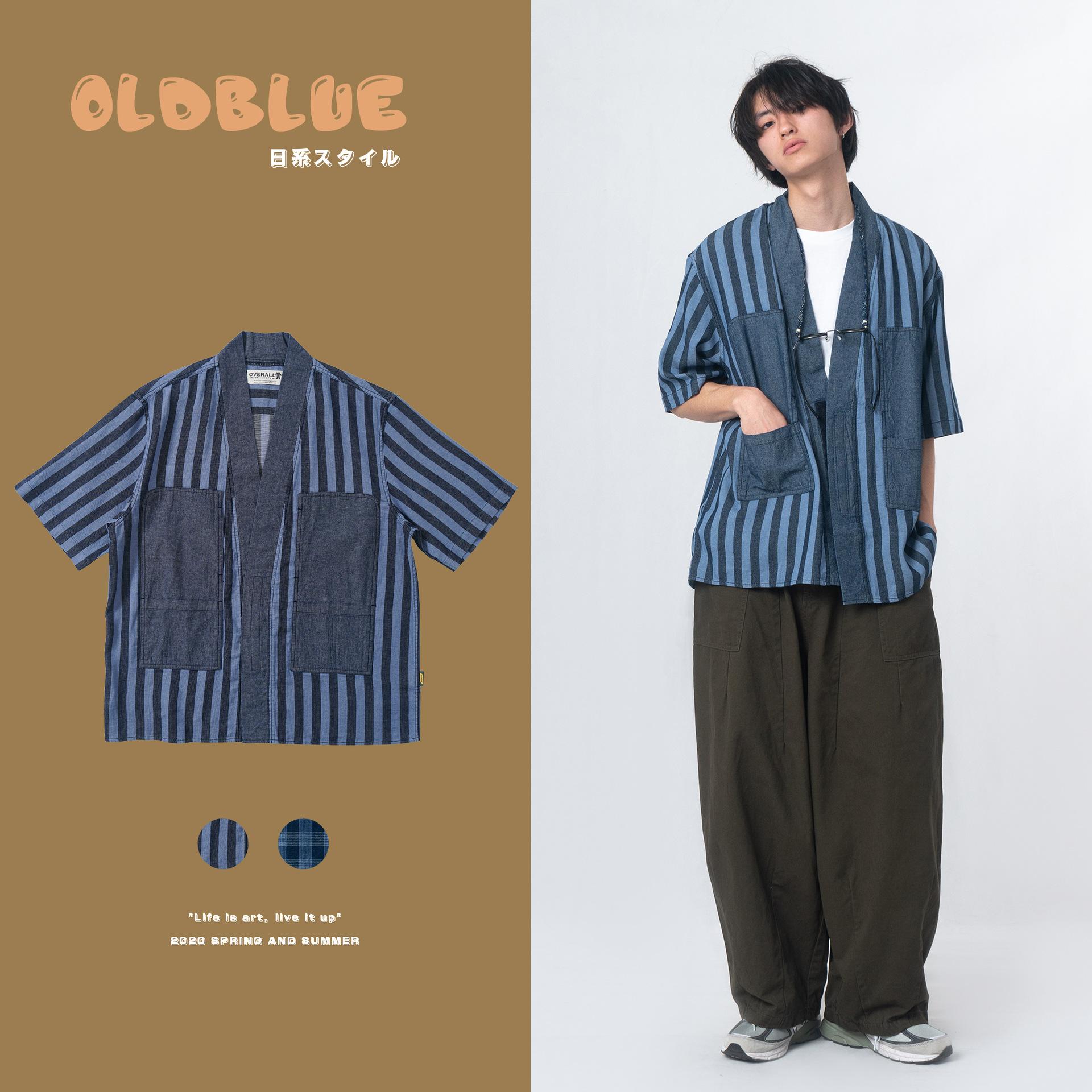 Intercalated soil Run@2020 Spring and summer fashion brand blue dyed checkered stripe loose casual Taoist robe Short Sleeve Shirt Men