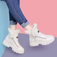 莫蕾蔻蕾2021冬季新款女鞋韩版加绒高帮百搭内增高拉链时尚雪地靴