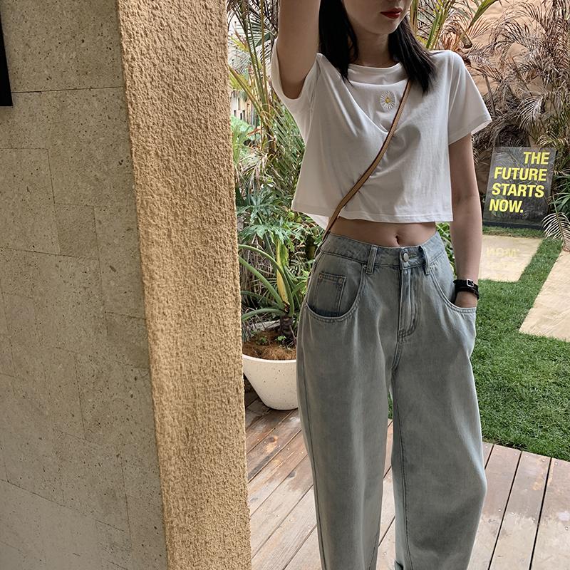JHXC 阔腿拖地牛仔裤女高腰显瘦2020年春夏新款潮直筒宽松老爹裤