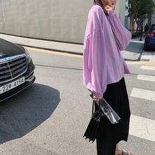 新款 纯色T恤女长袖 宽松韩版 2019夏季 JHXC 学生防晒上衣 灯笼袖 薄款