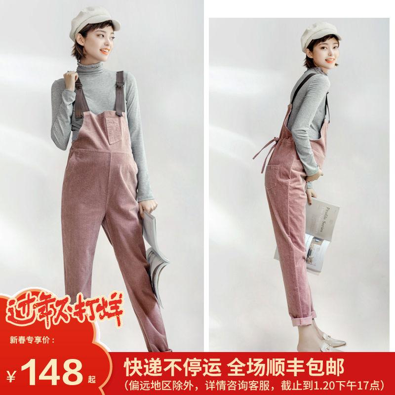 孕妇背带裤秋冬季时尚新款春秋孕妇裤子加绒加厚大码孕妇冬装套装