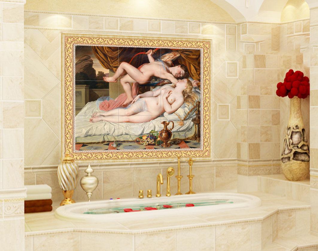 バスルームの背景には壁があります。少女の裸の防水タイルが描かれています。