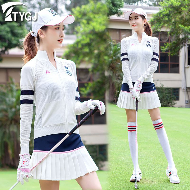Spring new! Golf womens knitted Long Sleeve Jacket cardigan high collar slim leisure sports ball clothes