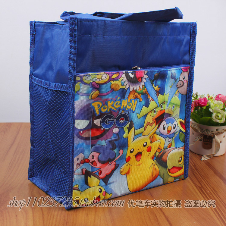 Pokemon Pikachu pet elf lunch box bag Bento bag cartoon handbag schoolboy lunch box bag