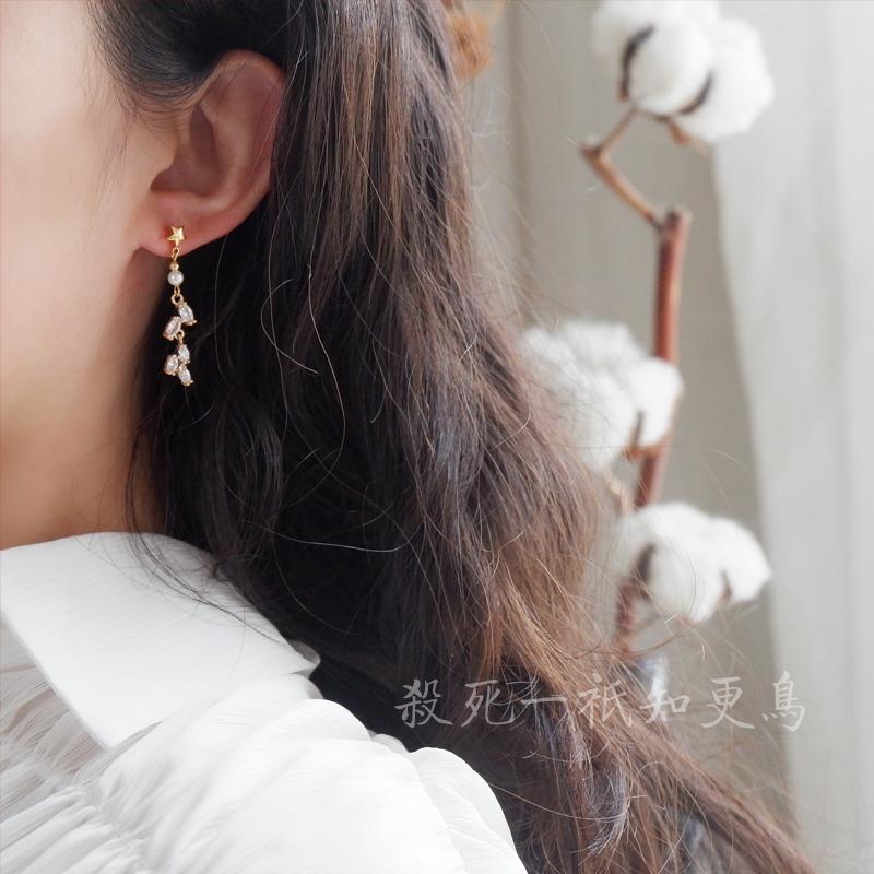 「知更鸟」钻石麦穗 精致气质原创手作轻珠宝全包金闪钻耳钉耳夹