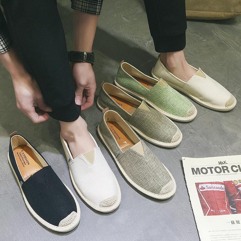 夏季亚麻帆布渔夫鞋男士懒人鞋潮鞋休闲男鞋子一脚蹬老北京布鞋男