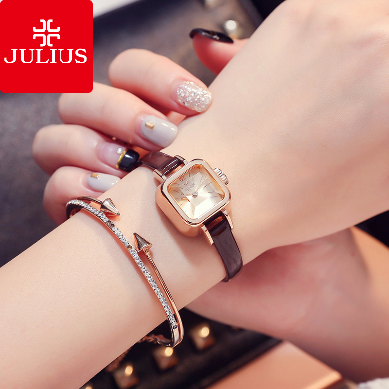 Julius curius watch student square small dial fashion trend Japanese and Korean style belt waterproof womens Watch