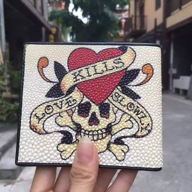 Yonlia / Yongliang leather new Pearl fish skin short wallet devil fish leather wallet short Wallet