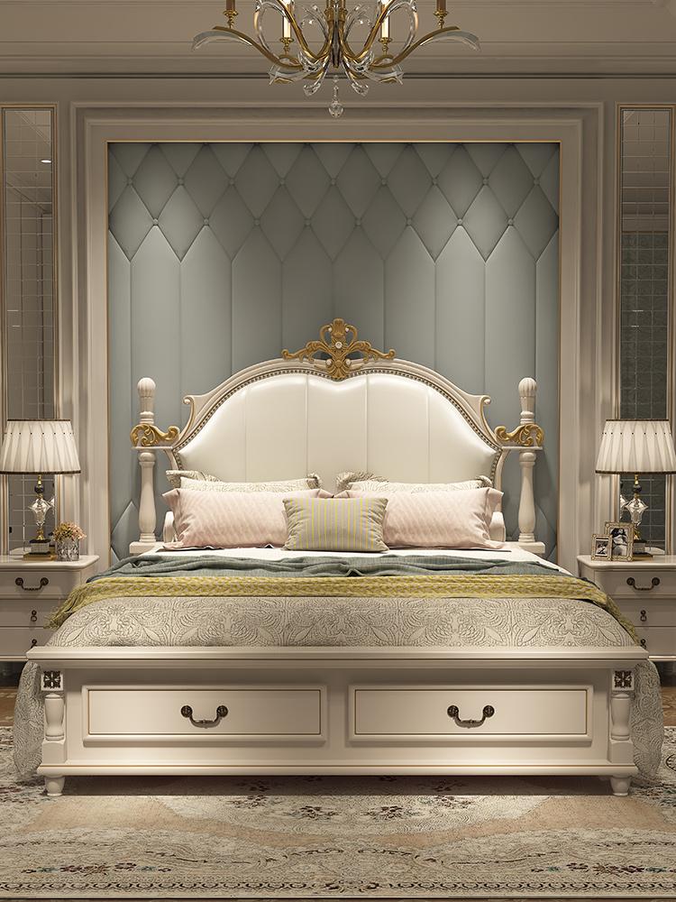 美式床欧式1.8米双人公主床现代简约轻奢实木床主卧家具套装组合