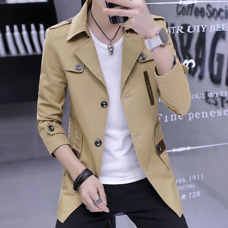 Spring and autumn thin windbreaker medium length jacket young mens casual top slim cotton mens jacket