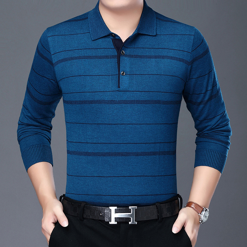 New 2021 spring and summer old mens long sleeve t-shirt mens Lapel sweater fathers thin sweater