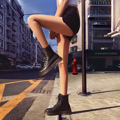 真皮八孔马丁靴女鞋内增高网红英伦风春夏季薄款新款透气短靴2020