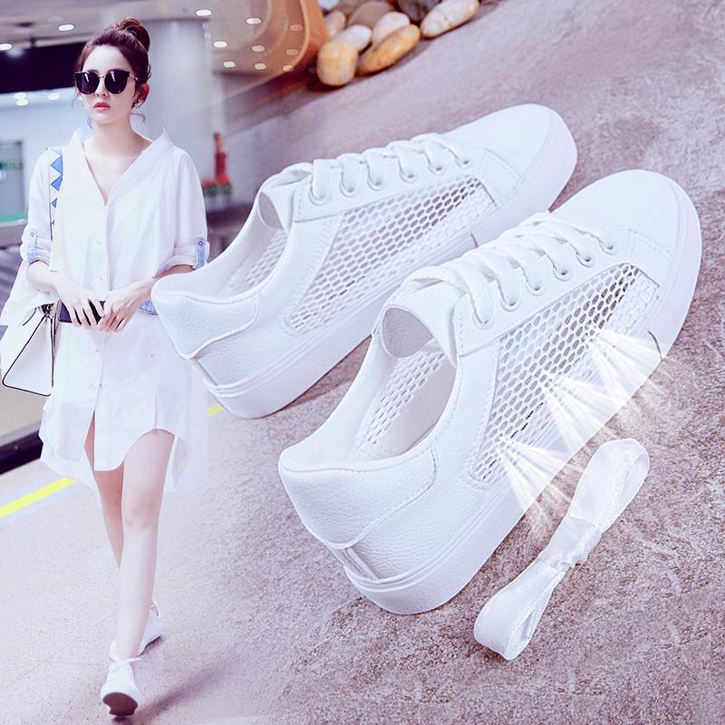 小白鞋女夏季鞋子2018新款百搭�n版�W生透�忡U空�W面白鞋�W�板鞋