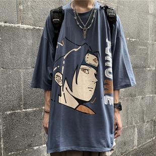 Korea studios 夏季潮流ins暗黑高街二次元动漫火影人物短袖T恤潮价格