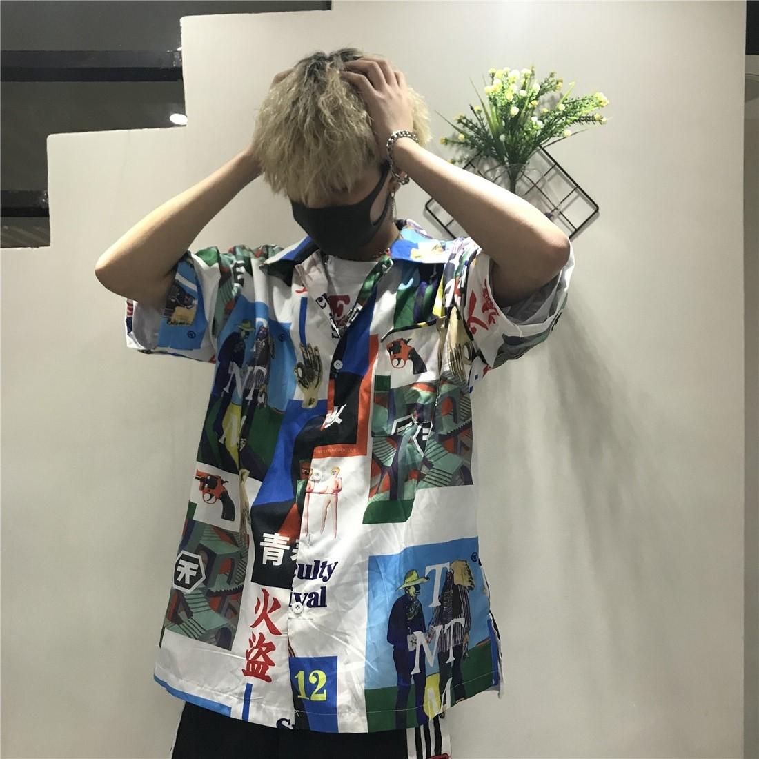Korea studios.韩国同款不规则各种图案拼接短袖衬衫 18ss男女款