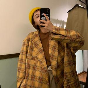 卤卤lulu 格子西装外套女韩版复古港味大码英伦风上衣黄色西服冬