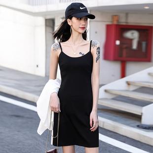 黑色吊帶裙性感內搭小個子打底連衣裙女夏收腰顯瘦氣質赫本小黑裙