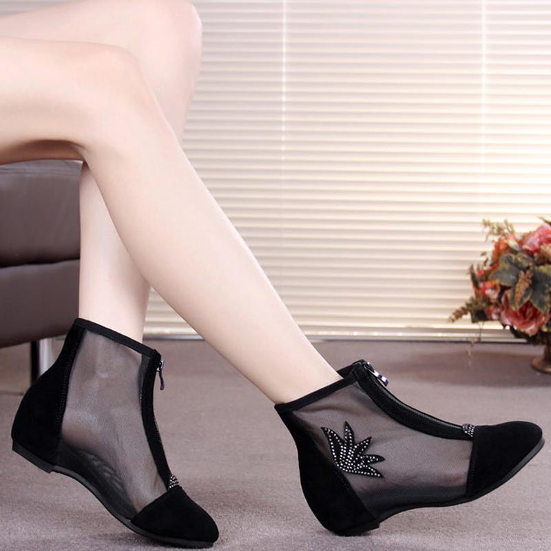 春夏真皮网内增高镂空凉靴小码短靴