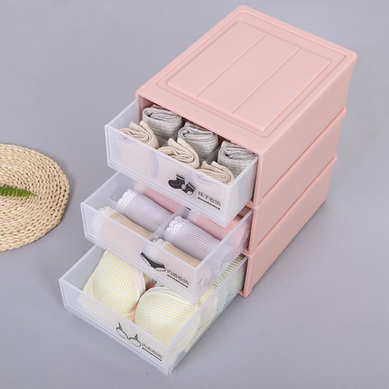 衣柜贴身衣物收纳盒放内衣内裤袜子的整理箱家用抽屉式塑料分格