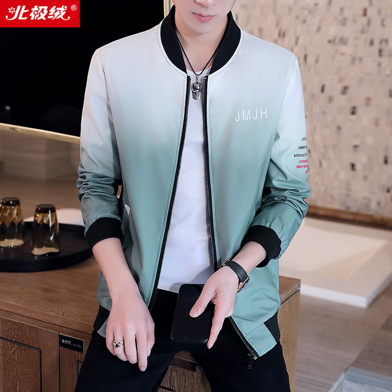 Arctic velvet jacket mens coat baseball collar 2020 spring new gradual leisure Korean fashion slim youth trend