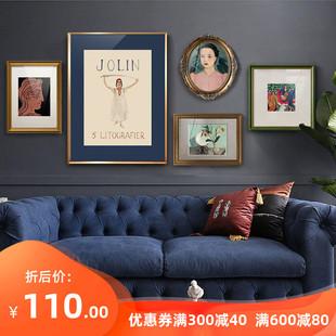 法式 客厅沙发背景墙装 饰画简欧餐厅壁画轻奢小众文艺复古组合挂画