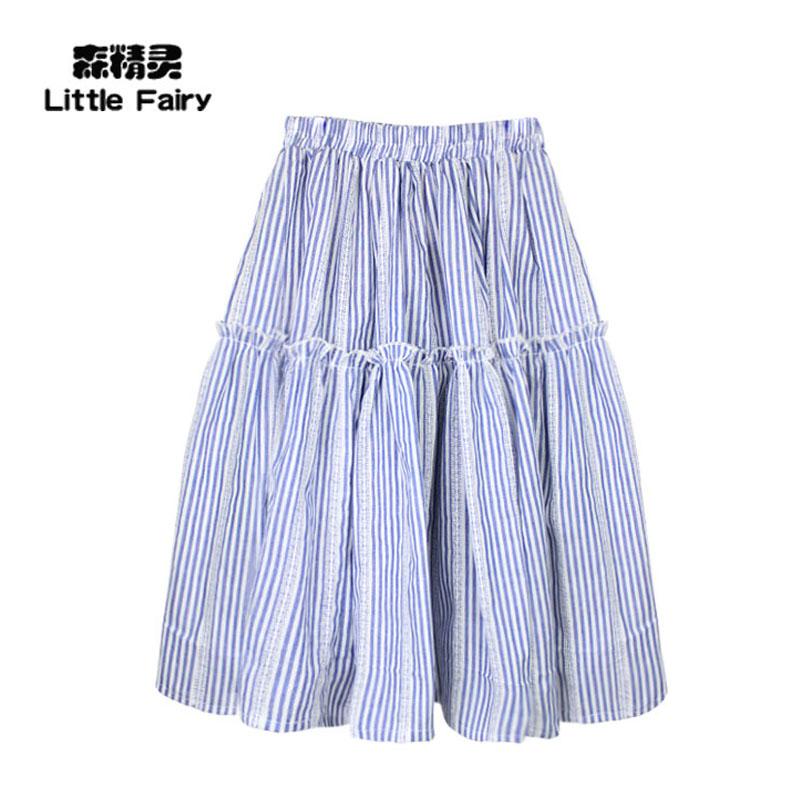Ребятишки новая девушка ребенок половина юбки полоса жаккард материал 100 % хлопок корейский в больших детей дикий долго половина юбки талия юбка
