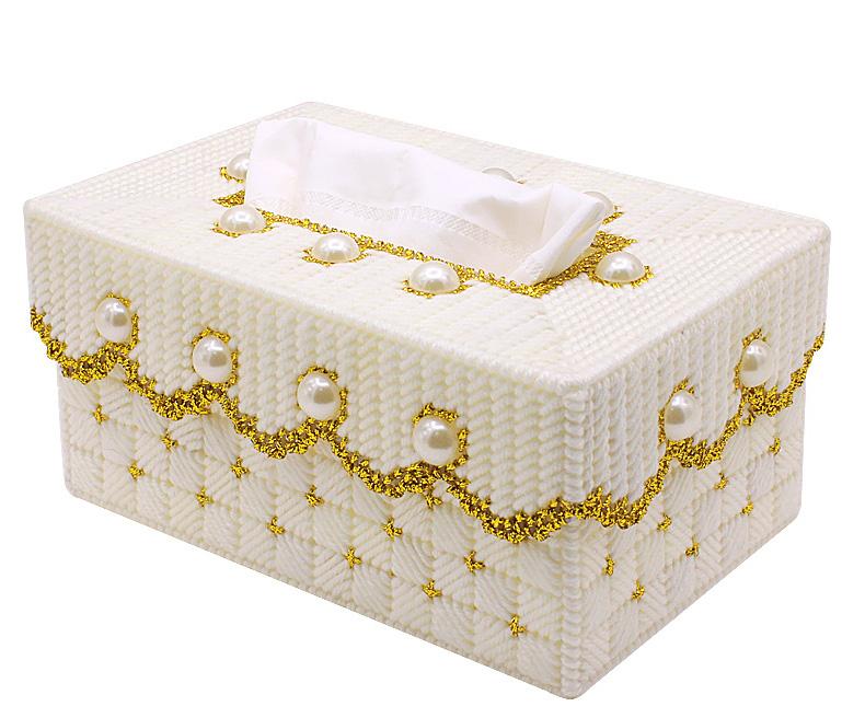 满30包邮手工DIY毛线立体十字绣客厅卧室抽纸长形喜庆婚礼纸巾盒