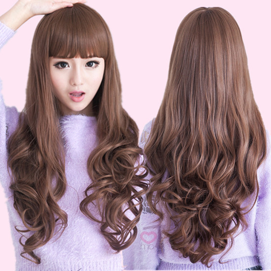 Wig womens long curly hair with bangs Korean fashion fluffy big wave curly hair realistic face trimming full head cover