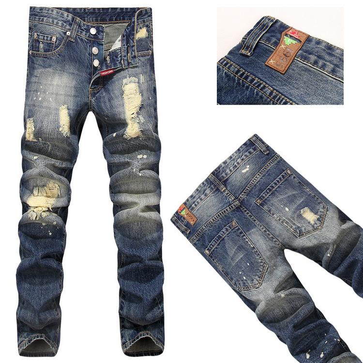 2020 jeans, mens holes, beggars ink splashing buttons, open placket, no elasticity, slim body, small straight tube, mens jeans trend