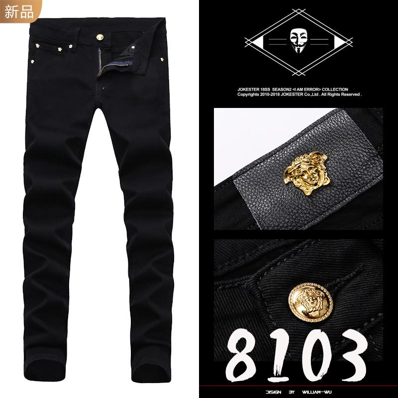 Spring 2020 new style womens head with black Korean fashion mens Slim small straight leg jeans