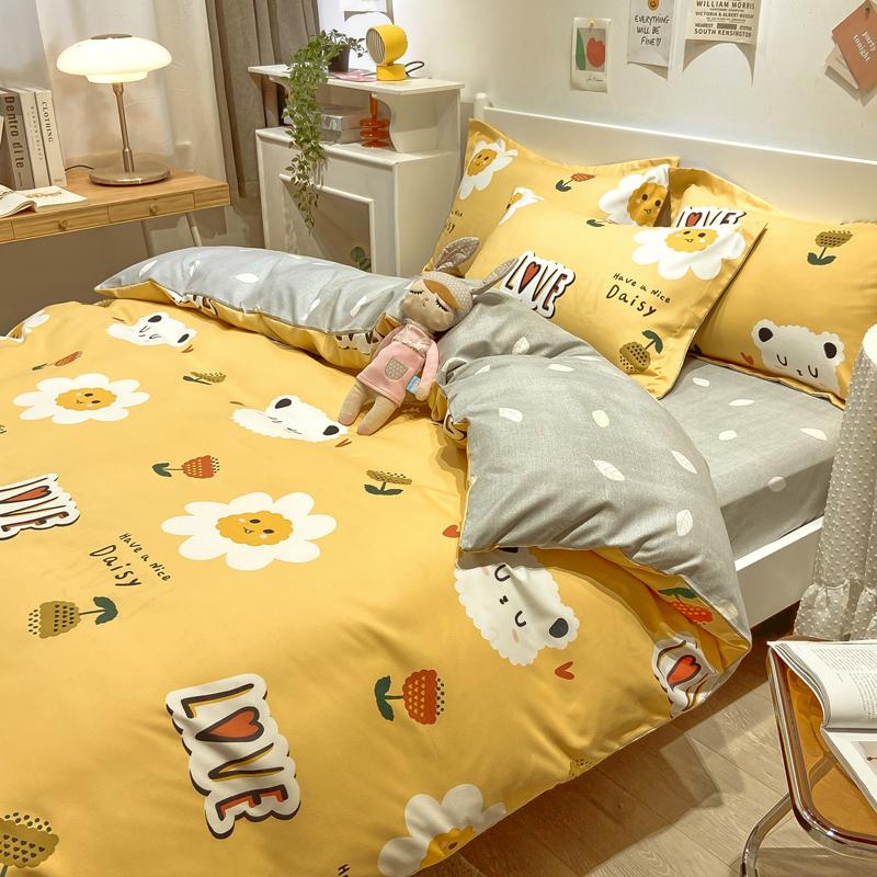 四件套儿童房床品套件春秋磨毛床单