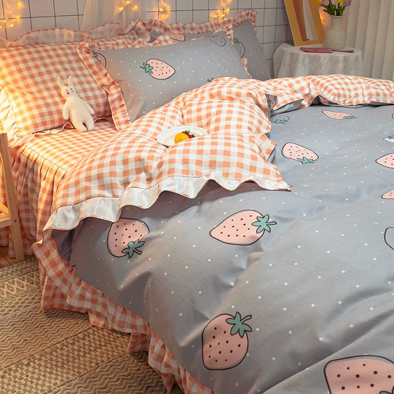 夏季床上用品四件套宿舍网红新款春秋床品三件套床裙被套床单被罩