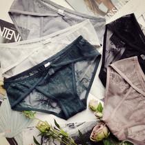 蕾丝内裤女性感复古镂空透明蝴蝶结公主风大码网纱低腰包臀三角裤