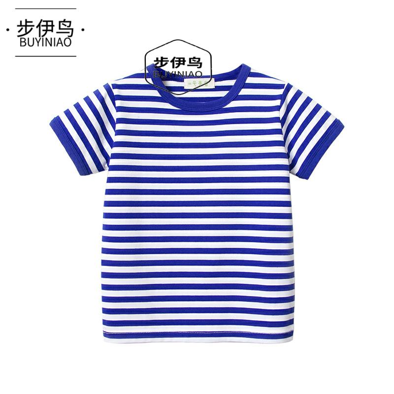 夏季男童女童宝宝海魂衫童装棉质短袖t恤海军风儿童条纹学生半袖
