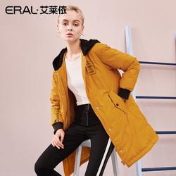 ERAL/艾莱依2018冬季新款假两件时尚印花羽绒大衣女617104146