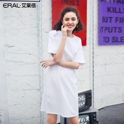 艾莱依2019夏季新款休闲宽松短袖T恤印花中长款连衣裙女601828102
