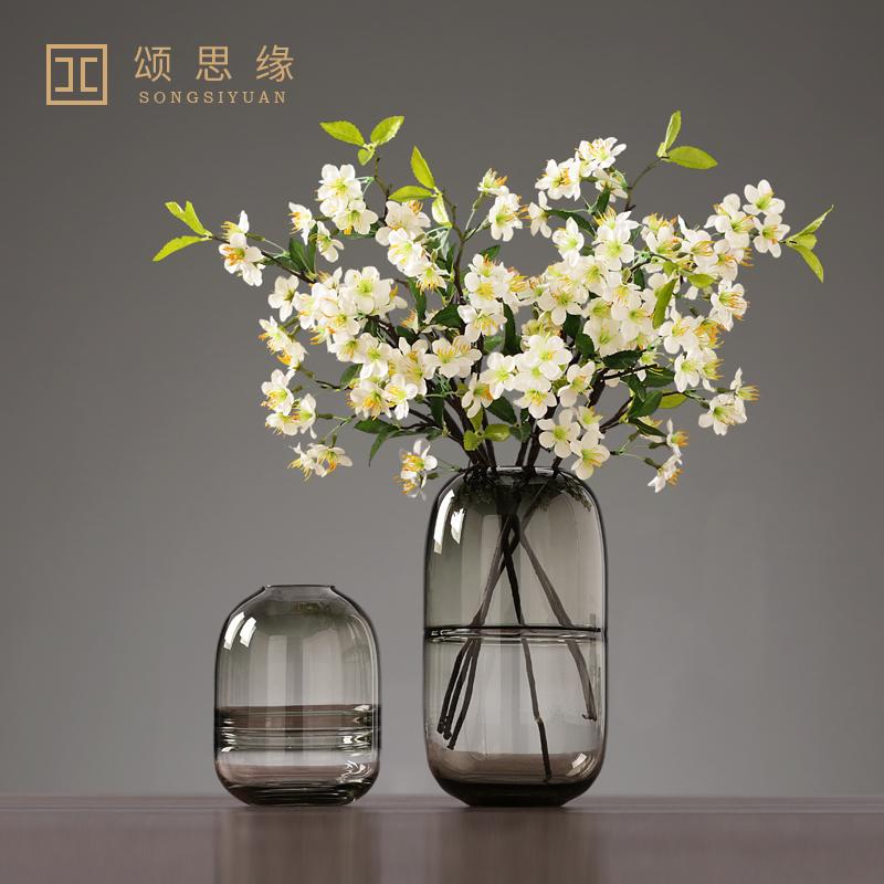 现代简约玻璃花瓶插花客厅插花创意艺术北欧复古餐桌睡莲花盆摆件