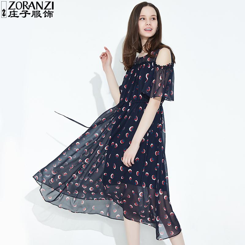 ZORANZI 庄子女装连衣裙2018新夏一字肩长裙显瘦雪纺裙WDM22121