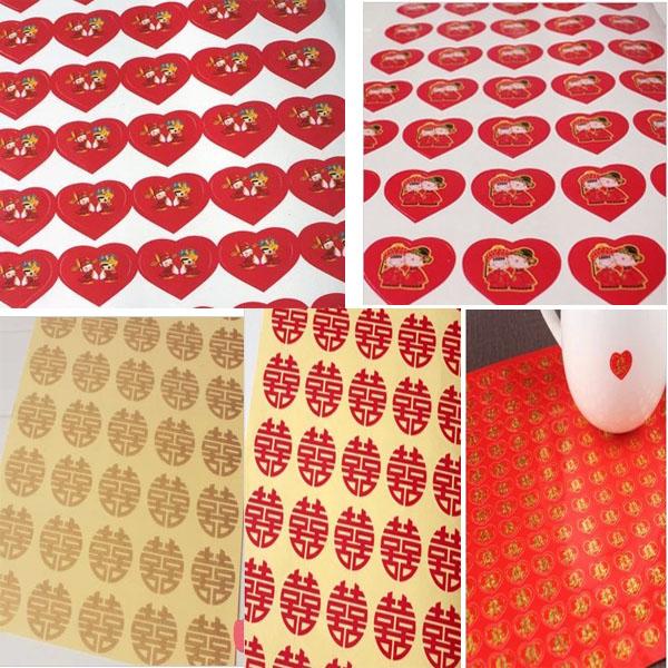E61 结婚用品 不干胶小喜字/红色圆形小家具贴喜/红包封口 35个